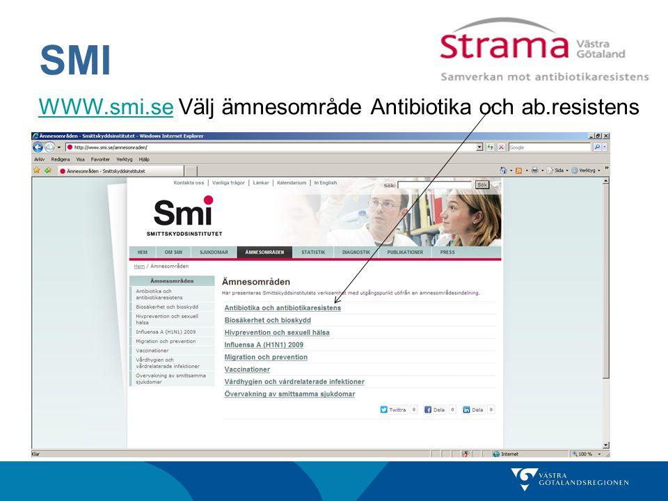 SMI WWW.smi.se Välj ämnesområde Antibiotika och ab.resistens