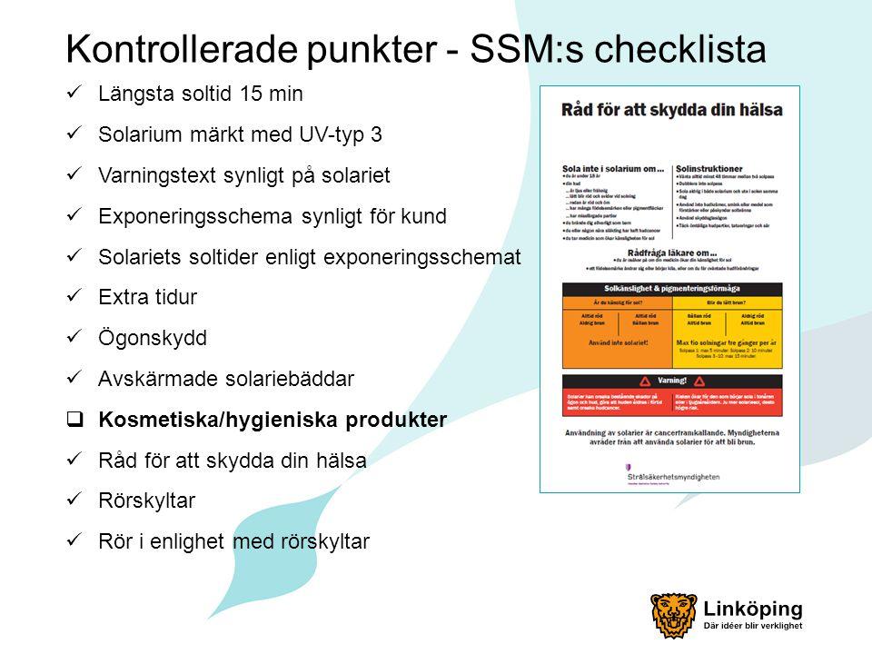Kontrollerade punkter - SSM:s checklista