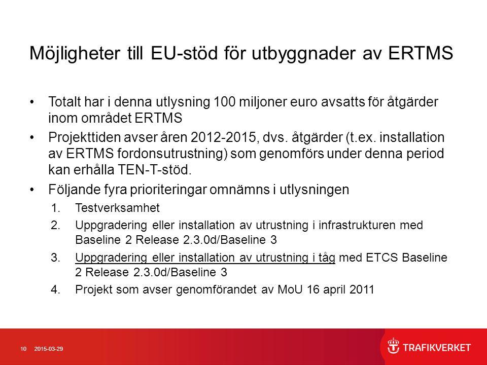 Möjligheter till EU-stöd för utbyggnader av ERTMS