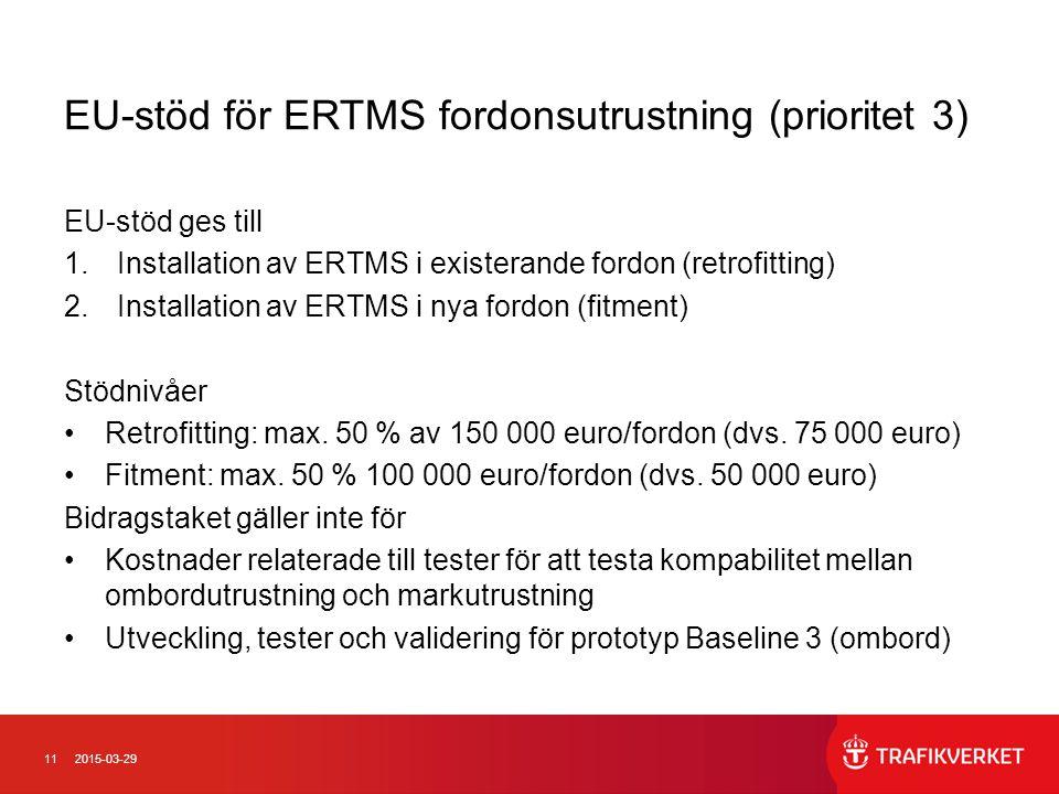 EU-stöd för ERTMS fordonsutrustning (prioritet 3)