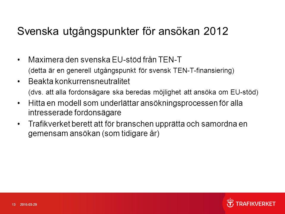 Svenska utgångspunkter för ansökan 2012