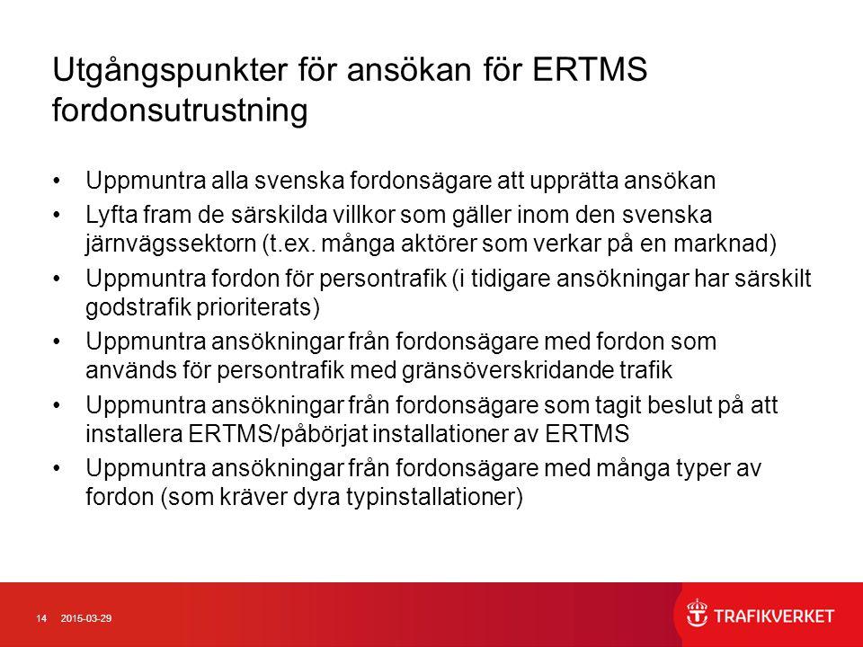 Utgångspunkter för ansökan för ERTMS fordonsutrustning