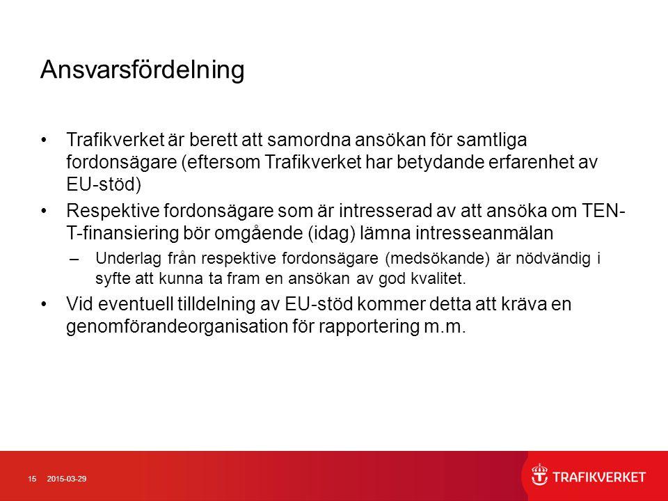 Ansvarsfördelning Trafikverket är berett att samordna ansökan för samtliga fordonsägare (eftersom Trafikverket har betydande erfarenhet av EU-stöd)