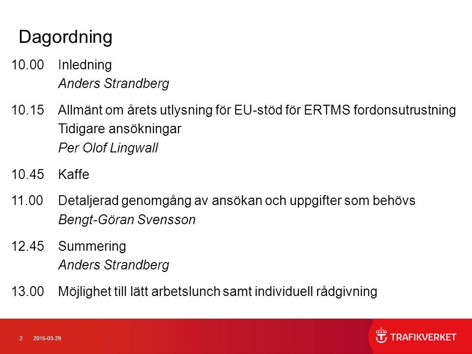 Dagordning 10.00 Inledning Anders Strandberg
