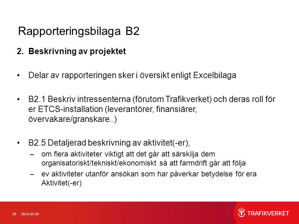 Rapporteringsbilaga B2