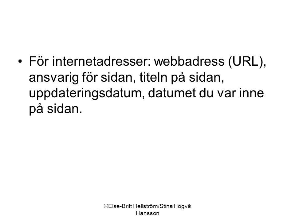©Else-Britt Hellström/Stina Högvik Hansson