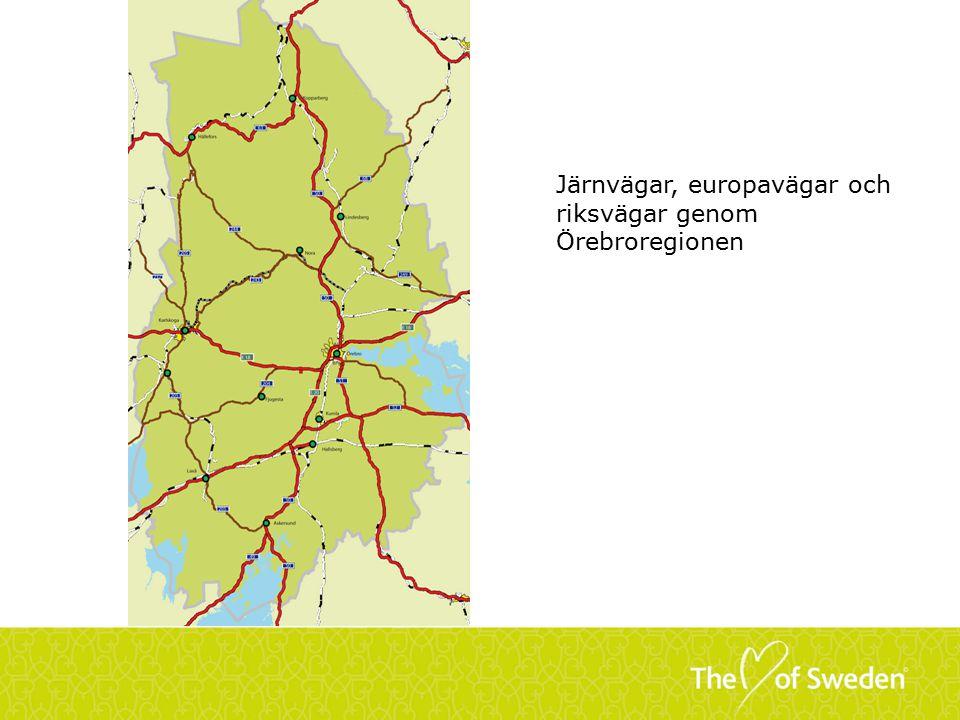 Järnvägar, europavägar och riksvägar genom Örebroregionen