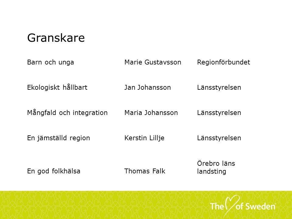 Granskare Barn och unga Marie Gustavsson Regionförbundet
