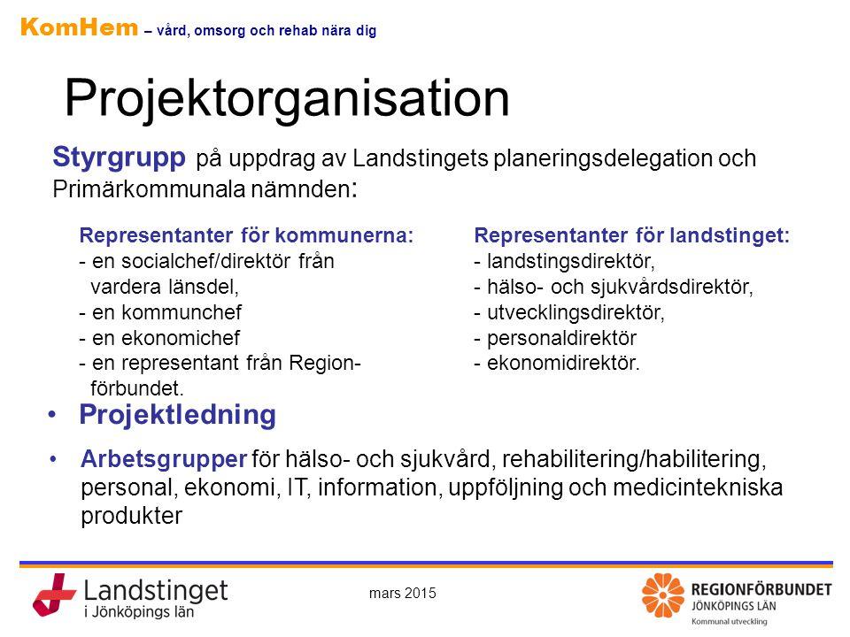 Projektorganisation Styrgrupp på uppdrag av Landstingets planeringsdelegation och Primärkommunala nämnden: