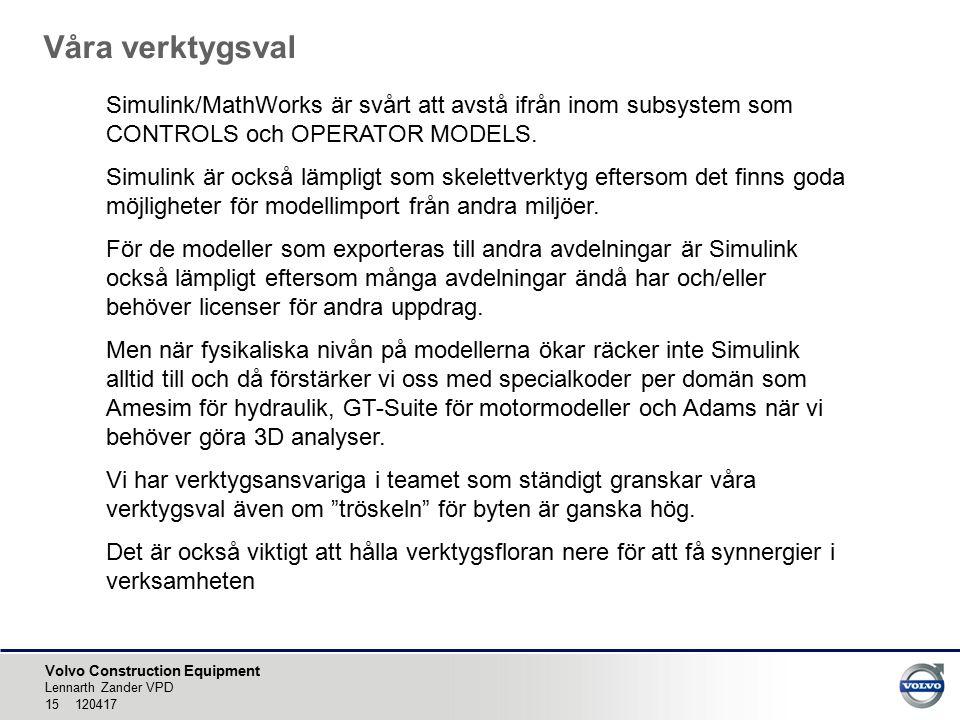 Våra verktygsval Simulink/MathWorks är svårt att avstå ifrån inom subsystem som CONTROLS och OPERATOR MODELS.