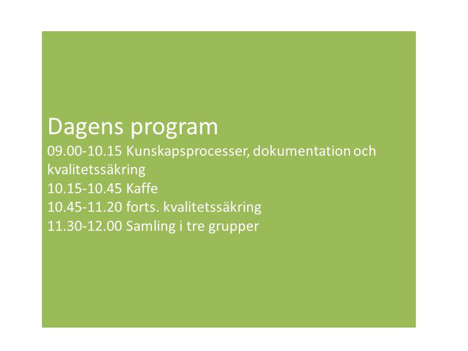 Dagens program 09.00-10.15 Kunskapsprocesser, dokumentation och kvalitetssäkring. 10.15-10.45 Kaffe.