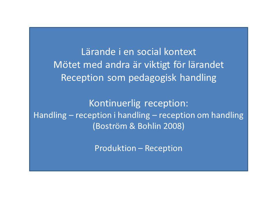 Lärande i en social kontext Mötet med andra är viktigt för lärandet