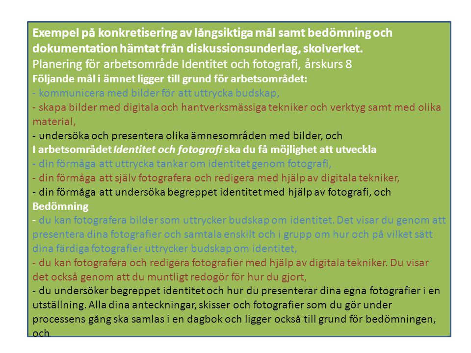 Planering för arbetsområde Identitet och fotografi, årskurs 8
