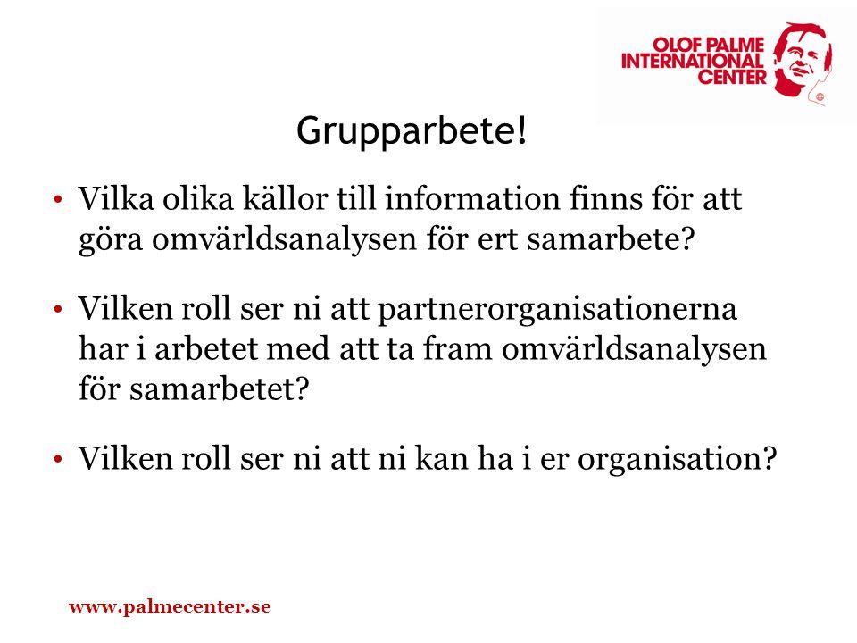 Grupparbete! Vilka olika källor till information finns för att göra omvärldsanalysen för ert samarbete