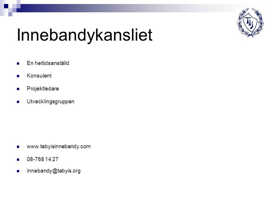 Innebandykansliet En heltidsanställd Konsulent Projektledare