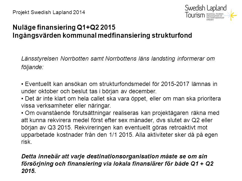 Nuläge finansiering Q1+Q2 2015