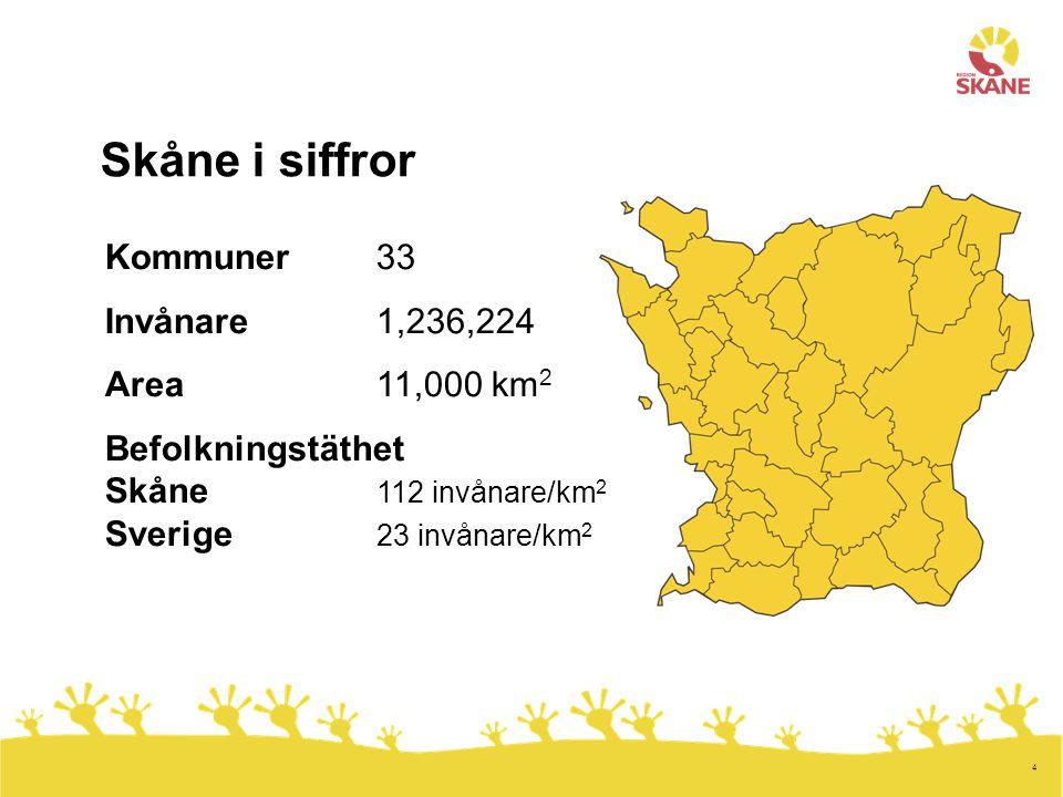 Skåne i siffror Kommuner 33 Invånare 1,236,224 Area 11,000 km2