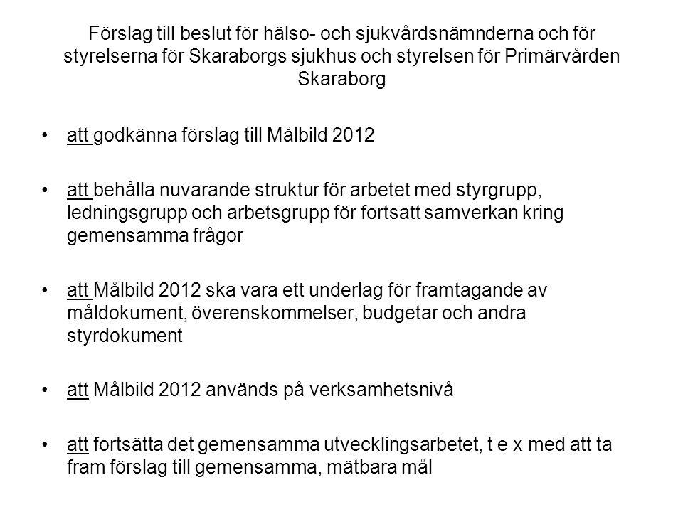 Förslag till beslut för hälso- och sjukvårdsnämnderna och för styrelserna för Skaraborgs sjukhus och styrelsen för Primärvården Skaraborg