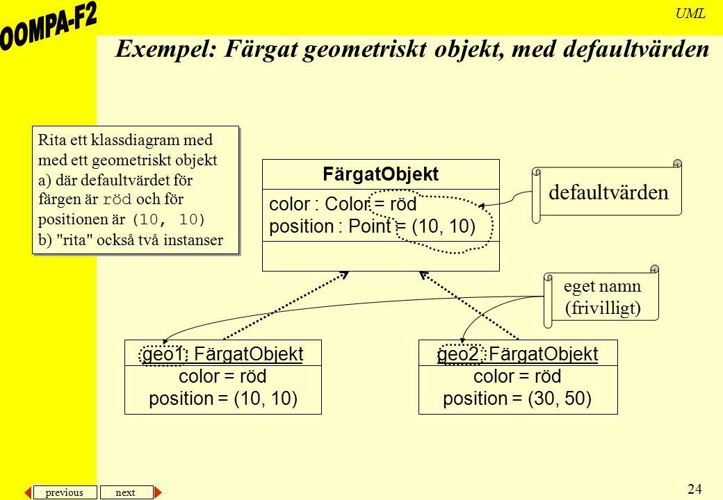 Exempel: Färgat geometriskt objekt, med defaultvärden