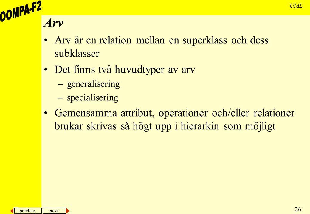 Arv Arv är en relation mellan en superklass och dess subklasser