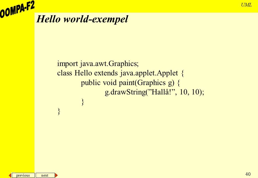 Hello world-exempel import java.awt.Graphics;
