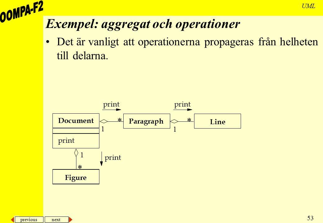 Exempel: aggregat och operationer