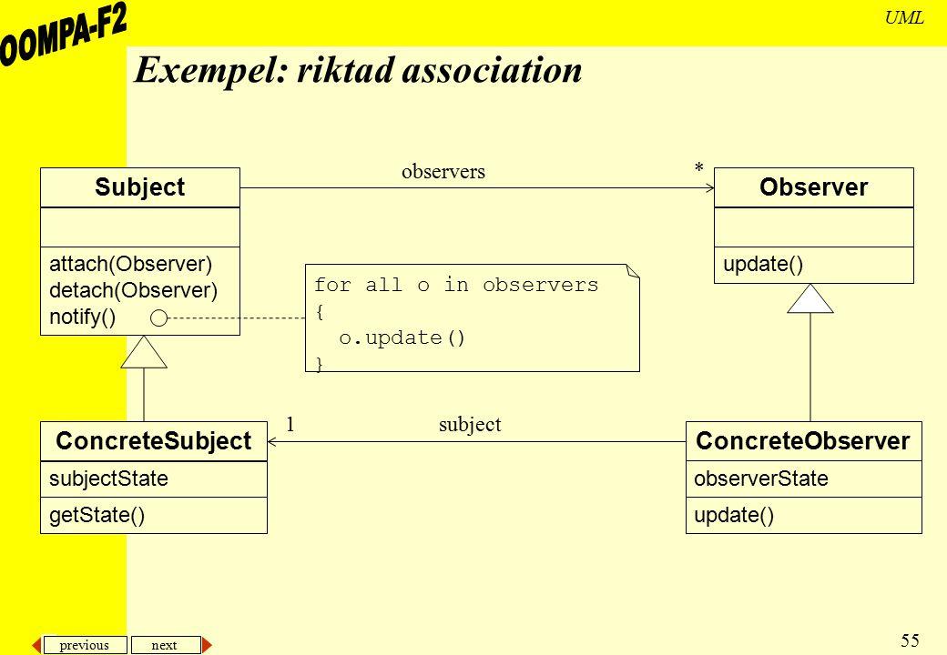 Exempel: riktad association