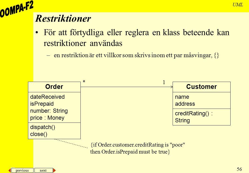 Restriktioner För att förtydliga eller reglera en klass beteende kan restriktioner användas.