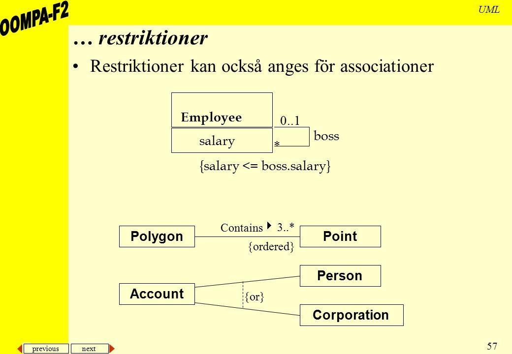 … restriktioner Restriktioner kan också anges för associationer