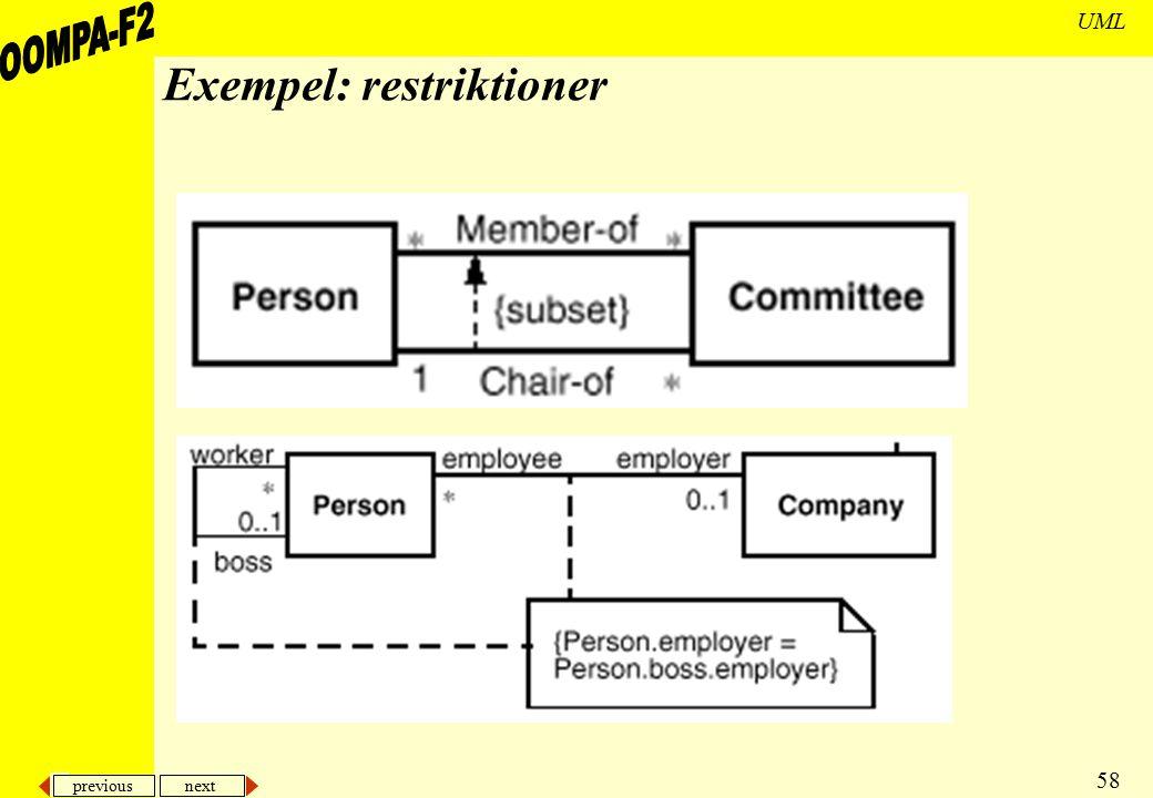 Exempel: restriktioner