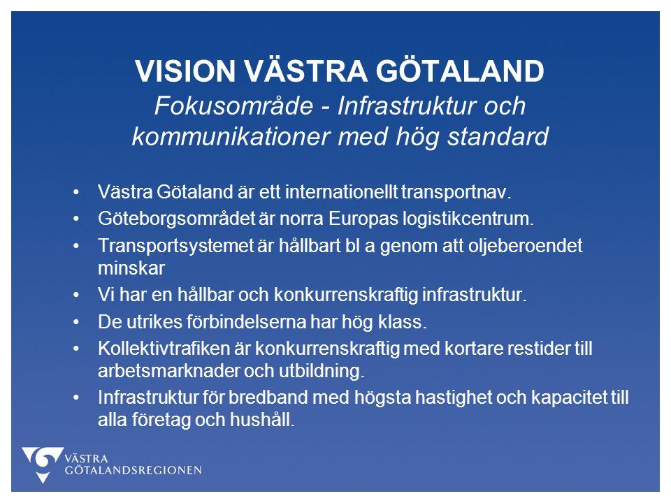 VISION VÄSTRA GÖTALAND Fokusområde - Infrastruktur och kommunikationer med hög standard