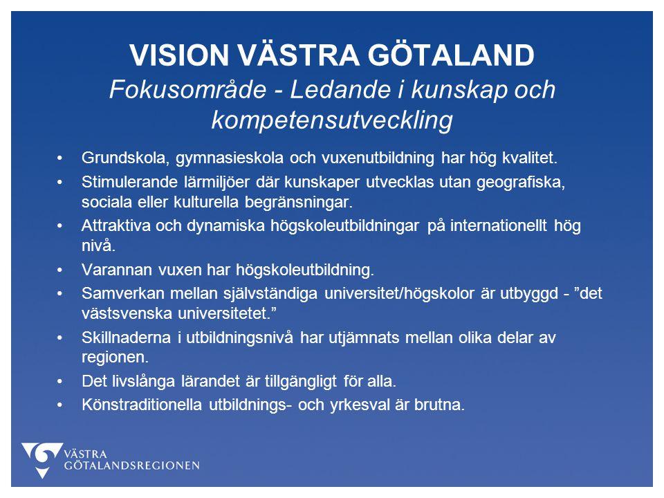 VISION VÄSTRA GÖTALAND Fokusområde - Ledande i kunskap och kompetensutveckling