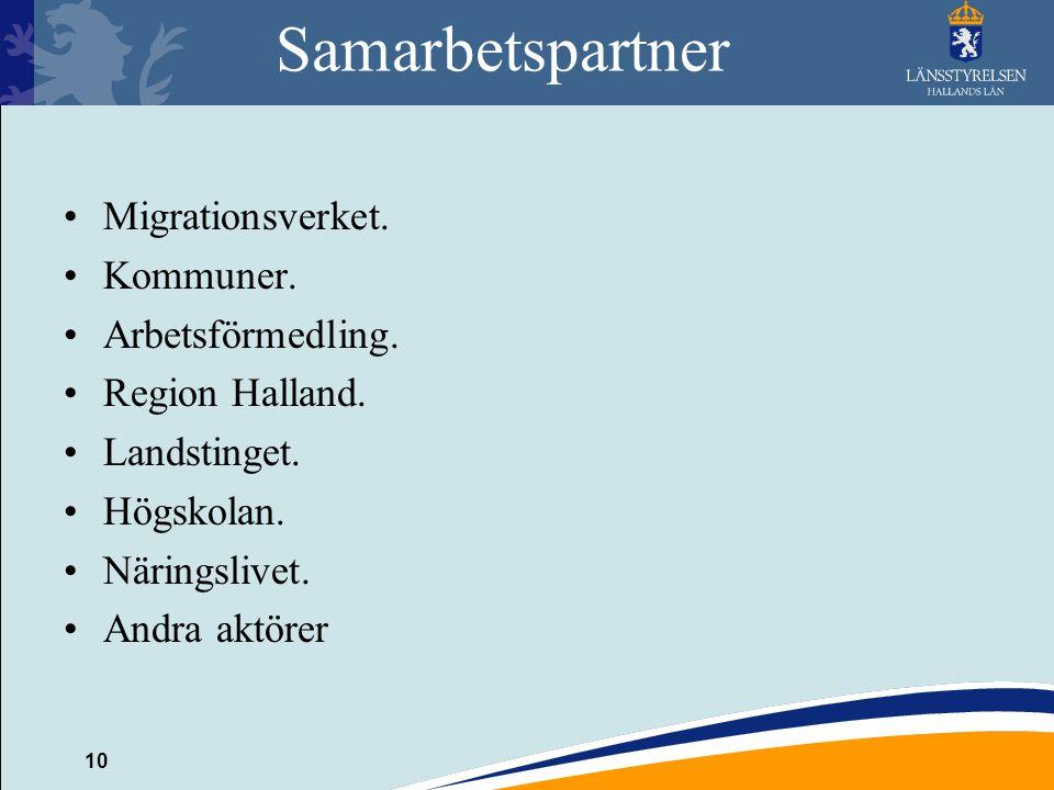 Samarbetspartner Migrationsverket. Kommuner. Arbetsförmedling.