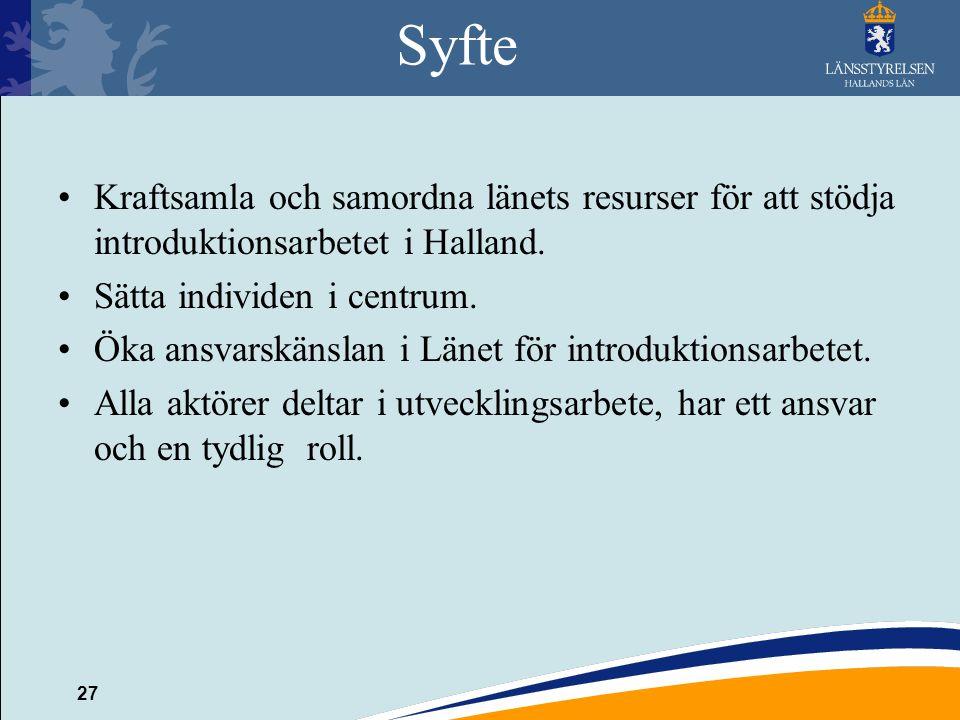Syfte Kraftsamla och samordna länets resurser för att stödja introduktionsarbetet i Halland. Sätta individen i centrum.