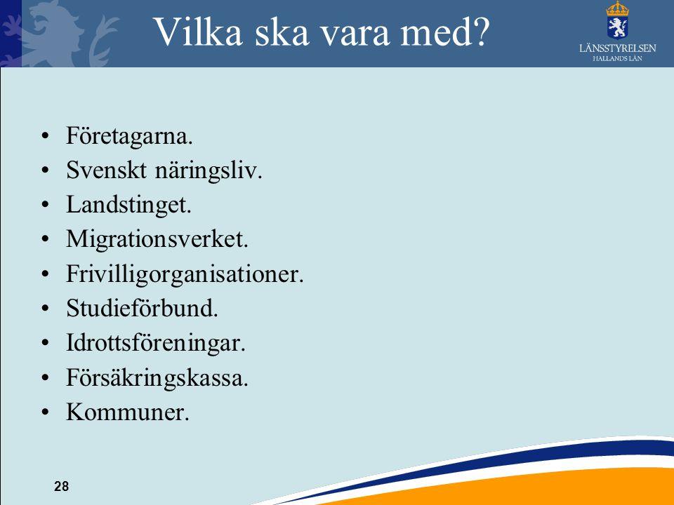 Vilka ska vara med Företagarna. Svenskt näringsliv. Landstinget.