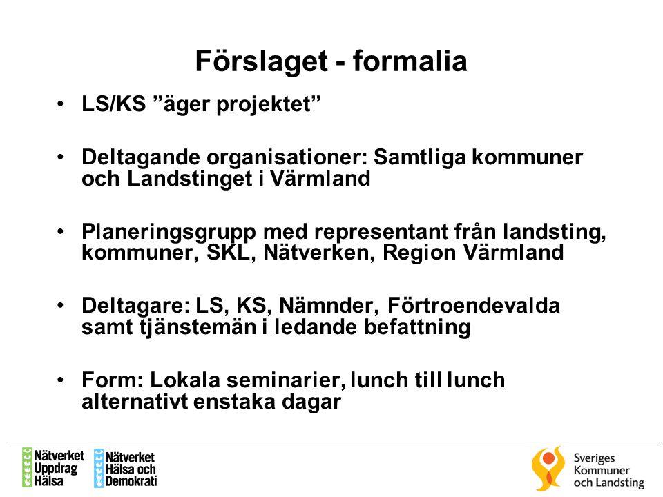 Förslaget - formalia LS/KS äger projektet