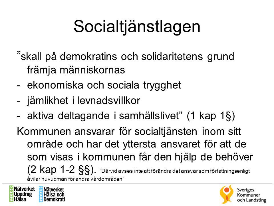 Socialtjänstlagen skall på demokratins och solidaritetens grund främja människornas. ekonomiska och sociala trygghet.