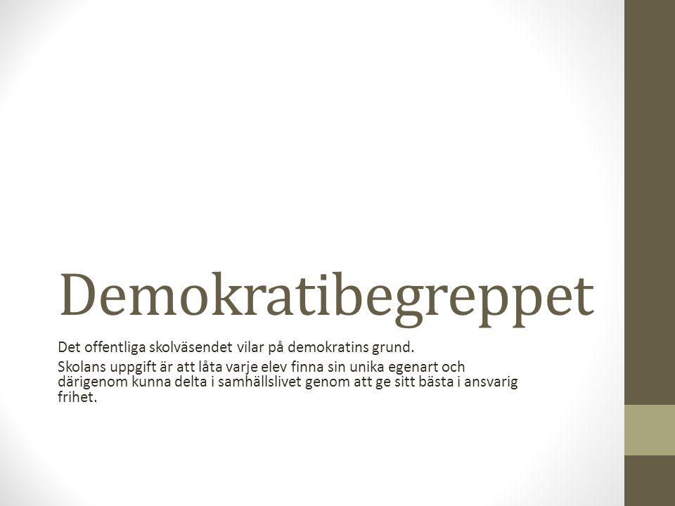 Demokratibegreppet Det offentliga skolväsendet vilar på demokratins grund.