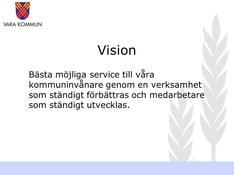 Vision Bästa möjliga service till våra kommuninvånare genom en verksamhet som ständigt förbättras och medarbetare som ständigt utvecklas.