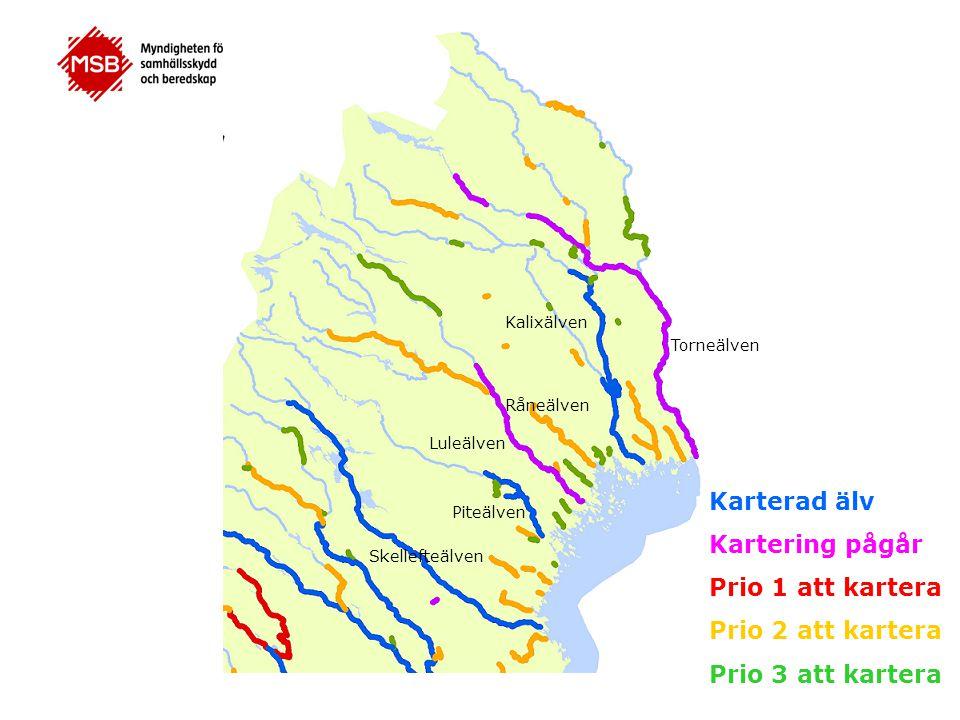 Karterad älv Kartering pågår Prio 1 att kartera Prio 2 att kartera