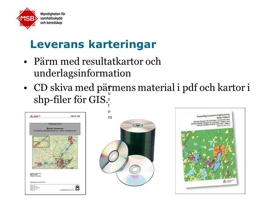 Leverans karteringar Pärm med resultatkartor och underlagsinformation