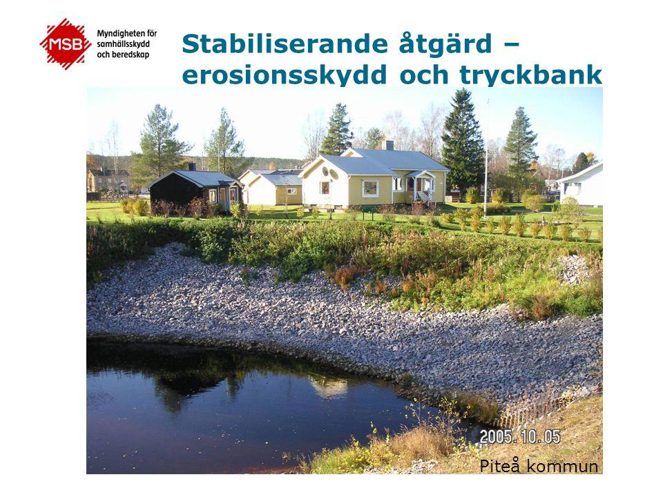 Stabiliserande åtgärd – erosionsskydd och tryckbank