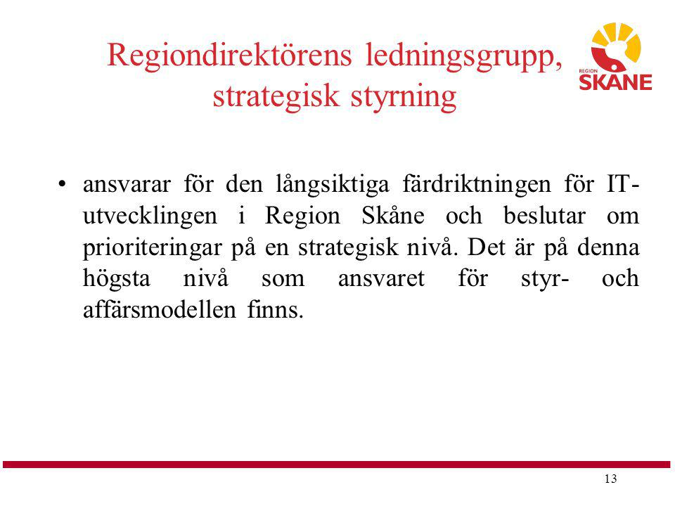 Regiondirektörens ledningsgrupp, strategisk styrning