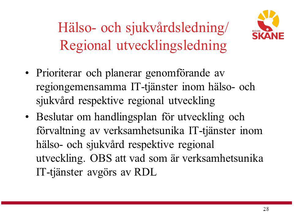 Hälso- och sjukvårdsledning/ Regional utvecklingsledning