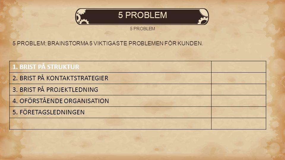 5 PROBLEM 1. BRIST PÅ STRUKTUR 2. BRIST PÅ KONTAKTSTRATEGIER