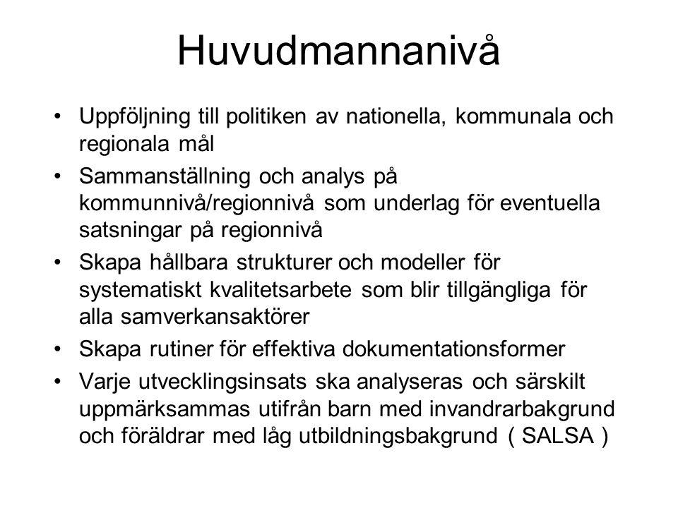 Huvudmannanivå Uppföljning till politiken av nationella, kommunala och regionala mål.