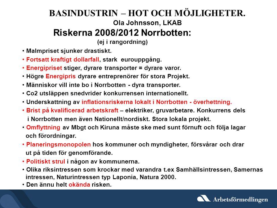 BASINDUSTRIN – HOT OCH MÖJLIGHETER. Riskerna 2008/2012 Norrbotten: