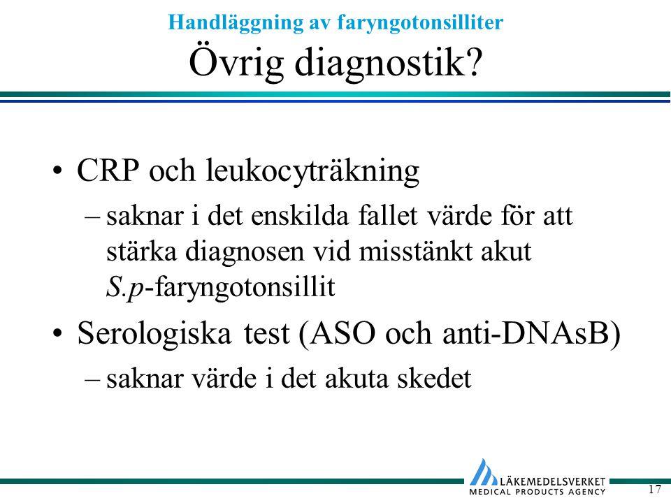 Övrig diagnostik CRP och leukocyträkning