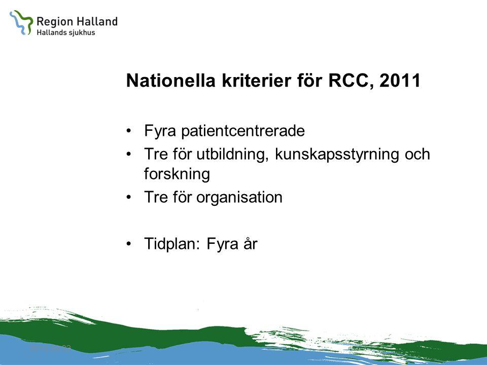 Nationella kriterier för RCC, 2011