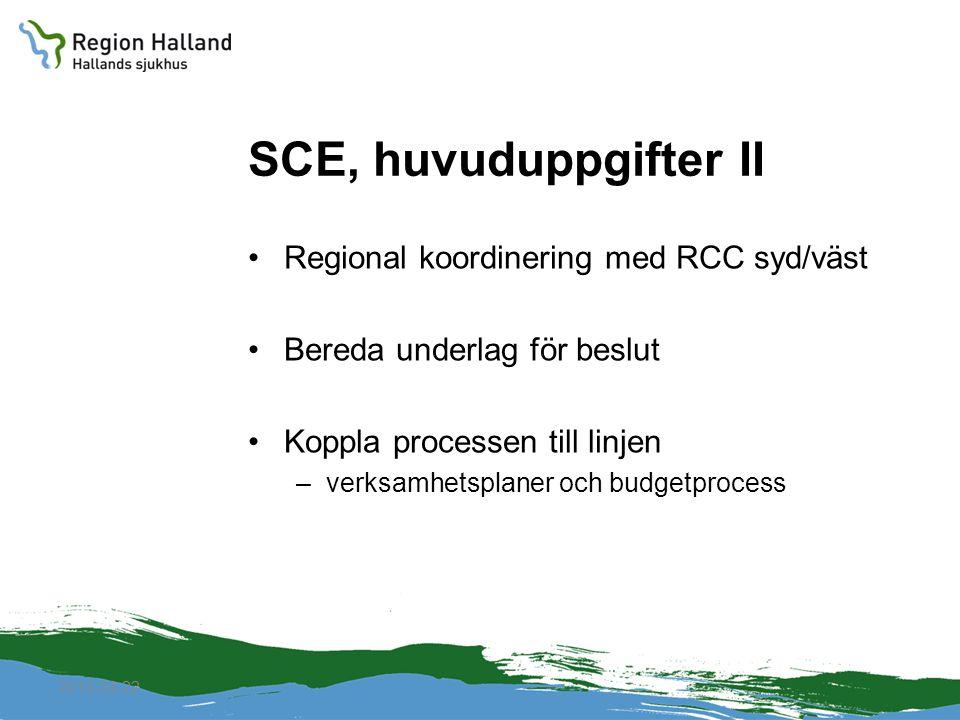 SCE, huvuduppgifter II Regional koordinering med RCC syd/väst